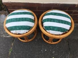 2 x Lovely Cane Stools in Excellent condition