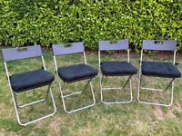 4 x Folding Seats / Chairs With Seat Cushions