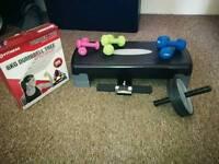 dumbells, step, back roller, abs crunch support