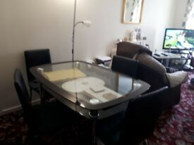 Glass & Chrome Dinning Table and Four Chairs
