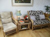 Well made Conservatory type sofa, chair and glass topped table, separate or together