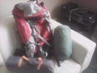 2 MAN TENT, SLEEPING BAG. AND RUCKSACK