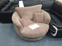EX-Display - Large Cammie Swivel Chair - Coffee Colour
