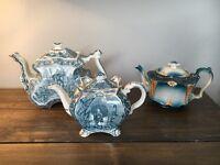 Vintage blue teapot collection