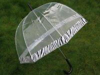 "NEW Ladies 23"" Dome Brolly Umbrella Zebra Print Border Design & Black Hook Handle"