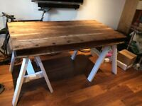 RECLAIMED WOOD REFURBISHED DINING/KITCHEN TABLE WITH CONTEMPORARY TRESTLE LEGS-MUST GO THIS WEEKEND!