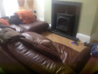Italian Brown Leather Corner 6 Seater Large Sofa And Footstool