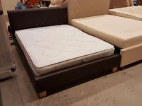 Brown leather double bed frame with mattress