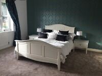 White double bed frame & 2 bedside table set
