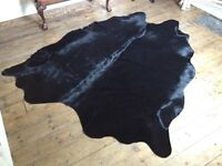 Large full size Black Real cow hide rug never used