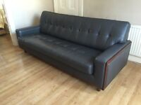 "Contemporary ""G"" Plan copy 3 seat leather sofa in grey -- excellent condition"