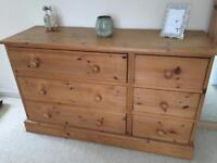 Solid pine 3 x 3 chest of drawers