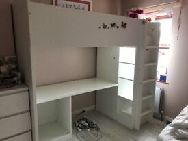 Ikea bunk bed with shelves/wardrobe and table £150