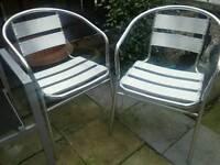 Pair metal chairs