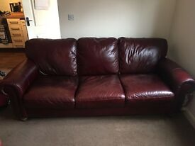 Burgundy itialian leather sofa