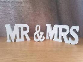 White wooden MR & MRS ornament