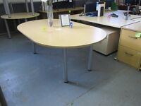 Used 2m Oval Meeting Table -Light Oak with Silver Legs