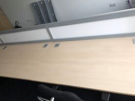 Maple Desks - Bench Desking with Cable Management and Screens in Excellent Condition