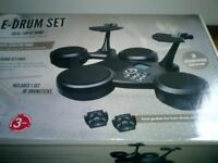 E - DRUM SET WITH FOOT PEDALS,