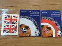 Scotland and Union Jack body tattoos