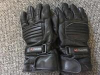 Men's black leather motorbike gloves