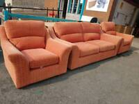 Red fabric 2 seater and 2 chairs