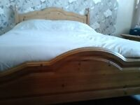 Pine double bed & immaculate mattress