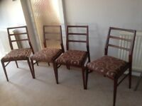 Set of four dining Chairs in excellent condition. May be teak? 1960's
