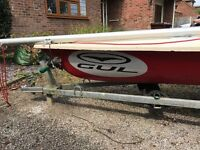 Laser Sailing Dinghy Standard rig. Two sails. All spars straight. Good trailer