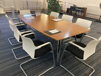 Stylish Wood finish Barrel Boardroom, Meeting, Conference, Office Table (seats 8 people)