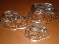 VINTAGE GLASS RABBIT JELLY MOULDS