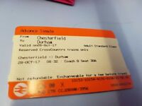 Adult single ticket - Chesterfield to Durham - Saturday 28/10/17