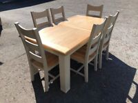 Ex-display**chunky grey and oak large extendable table and 6 chairs