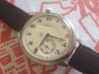 Vintage large vintage Molnija USSR Russian mens watch (pocket watch conversion?)
