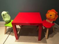 Children's Table and 2 Wooden animal chairs set.