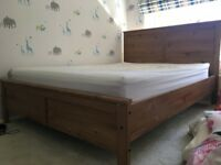 Double Bed Frame (Wood) & Double Mattress
