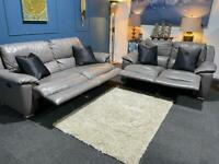 Grey leather recliner suite 3 seater sofa and 2 seater sofa