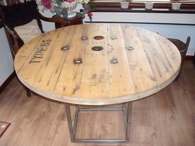Waxed and polished cable reel table
