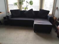 IKEA corner sofa bed black