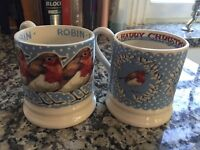 Emma Bridgewater set of 2 Christmas robin in a snowstorm mugs