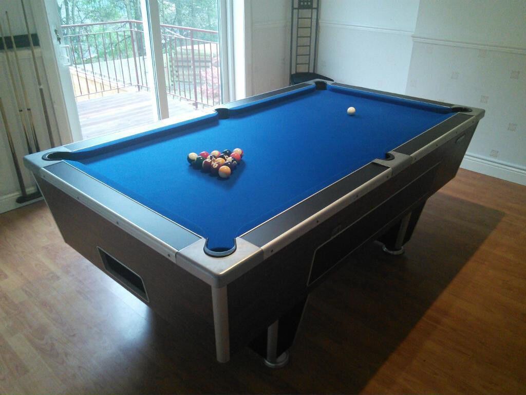 Ft Slate Bed Pool Table Black Cabinet Brand New Blue Cloth In - Pool table cabinet
