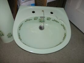 Vintage Green Decorated Wash Hand Basin And Pedistal Weymouth