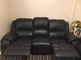 Real genuine leather recliner sofa set
