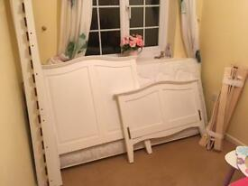 White wooden single bed frame (dismantled)