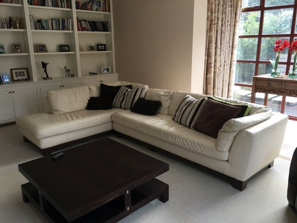 Roche Bobois L Shaped Leather Sofa With Footstool In Poole Dorset