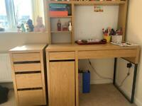 IKEA MICKE desk + add on unit + drop file drawer unit