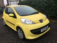 PEUGEOT 107 1.0 URBAN 57 REG YELLOW 12 MONTHS MOT ROAD TAX £20 YEAR LADY OWNER LOW INSURANCE 60+MPG
