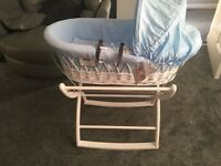 Baby blue and white wicker rocking missing basket