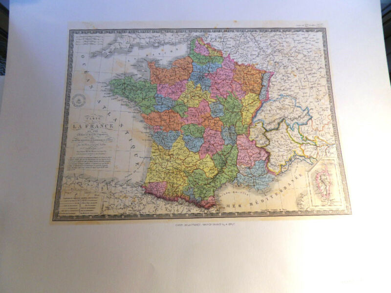 A. Brue Map Of France Lithographed from the Original
