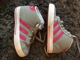 Girls size 1 Adidas trainers